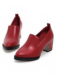 Damen-High Heels-Büro Lässig-PU-Blockabsatz-Komfort-Schwarz Blau Rot