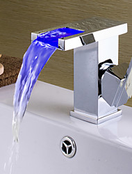 Contemporary Brass LED Waterfall Bathroom Sink Faucet