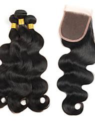 Trama do cabelo com Encerramento Cabelo Brasileiro Onda de Corpo 12 meses 5 Peças tece cabelo