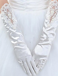 Wrist Length Fingertips Glove Elastic Satin Bridal Gloves Winter Gloves Spring Summer Fall Winter Pearls