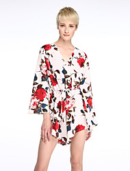 Women's Floral Red Jumpsuits,Sexy / Holiday Deep V ¾ Sleeve