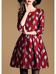 Women's Formal Sexy Loose Dress,Floral Round Neck Above Knee Long Sleeve Red Cotton Fall Mid Rise Micro-elastic Medium