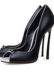 Damen-High Heels-Lässig Party & Festivität-Kunstleder-Stöckelabsatz-Passende Schuhe & Taschen-Schwarz Weiß