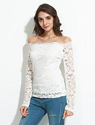 Tee-shirt Femme,Couleur Pleine Sortie Sexy Printemps / Automne Manches ¾ Bateau Blanc / Noir Polyester Moyen