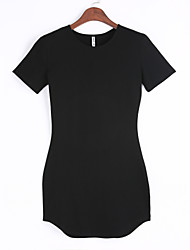 Women's Sheath DressSolid Round Neck Mini Short Sleeve White / Black Polyester Fall Mid Rise Micro-elastic Medium