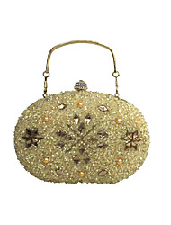 Women Bags All Seasons PU Evening Bag with Crystal/ Rhinestone Acrylic Jewels for Wedding Event/Party Formal Gold Silver