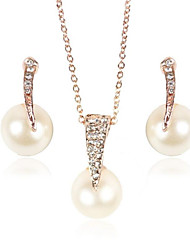 Jewelry Set Pearl Pearl Simulated Diamond Bridal Wedding Daily 1set 1 Necklace 1 Pair of Earrings Wedding Gifts