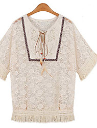 Women's Casual/Daily Simple Loose Dress,Solid Stand Mini Short Sleeve Beige Others Fall High Rise Micro-elastic Medium