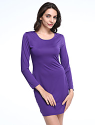 Women's Sexy / Bodycon / Party Round Neck Long Sleeve Slim Package Hip Bottoming Dress
