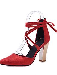 Feminino-Sandálias-Sapatos com Bolsa Combinando-Salto Grosso-Preto Vermelho Branco Bege-Courino-Escritório & Trabalho Social Casual