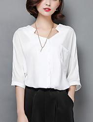 Women's Solid Red / White Shirt,Casual V Neck ½ Length Sleeve Asymmetrical Loose Thin Polyester