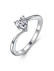 Anéis Zircônia cúbica Casamento / Diário Jóias Zircão / Prata Chapeada Feminino Anel de noivado 1peça,6 / 7 / 8 / 9 Prateado
