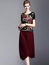 Feminino Solto Chinos Calças-Cor Única Casual Simples Camurça Cintura Média Elasticidade Poliéster Com Elástico Outono