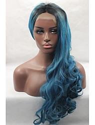 жен. Парики из искусственных волос Лента спереди Естественные кудри Синий Природные волосы Парик из натуральных волос Карнавальные парики