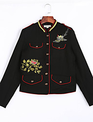 Women's Embroidery Casual/Daily Going out Street chic Spring Fall Jacket,Solid Stand Short Cotton Embroidered