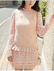 Women's Going out Cute Tank Top Skirt Suits,Solid Round Neck Long Sleeve Pink White Cotton