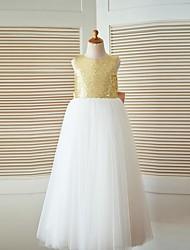 Vestido de menina de flor de um andar de linha de linha - Tulle lantejoula jóia sem mangas com arco (s)