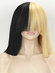 Sia Styling Fashion Celebrity Wig Golden Mixed Black Short Kinky Straight Hair Classic Cap Heat Resistant Synthetic Cosplay Wig