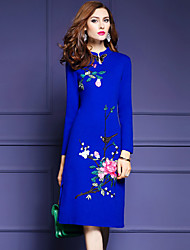 Women's Embroidery Going out Cute Shift Dress,Embroidered Round Neck Above Knee Long Sleeve Blue Polyester Fall Mid Rise Micro-elastic Medium