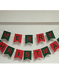Christmas Decorative Items Merry Christmas Letter Non - Woven Pennant Pull Flower Color Of The Pendant
