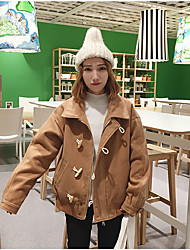 Sign 2016 winter new short section of the horn button clip cotton coat it