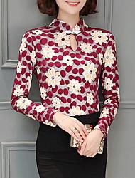 Feminino Blusa Tamanhos Grandes Para Noite Casual Simples Moda de Rua Primavera Outono,Estampado Azul Vermelho Algodão Colarinho Chinês