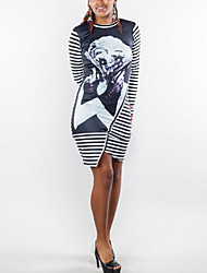 Women's Going out Sexy Bodycon Dress,Striped Round Neck Midi Long Sleeve Black Cotton Spring Low Rise Micro-elastic Thin