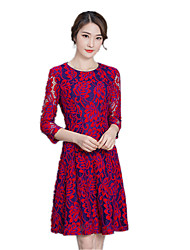 2017 early autumn new ladies spell color red lace dress Slim A word skirt round neck dress skirt long section
