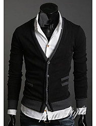 Men's Casual/Daily Sexy Long Cardigan,Solid Black V Neck Long Sleeve Cotton Spring Medium Micro-elastic