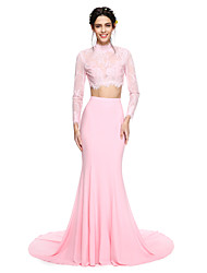 TS Couture® Formal Evening Dress - Two Pieces Trumpet / Mermaid High Neck Court Train Lace / Jersey with Appliques