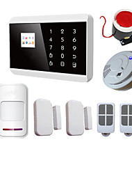 IOS Android APP LCD Smart Touch Wireless Wired GSM PSTN SMS Home Security Voice Burglar Alarm System With Smoke Detector