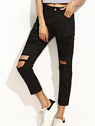 Women's Slim Jeans / Chinos Pants,Going out / Casual/Daily Sexy / Vintage / Simple Solid Ripped Mid Rise Zipper / Button Spandex