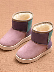 Girl's Boots Winter Comfort Leatherette Casual Flat Heel Split Joint Brown Pink Fuchsia Others