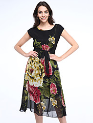 Women's Going out Swing Dress,Floral Round Neck Midi Short Sleeve Beige / Black Spring / Summer / Fall