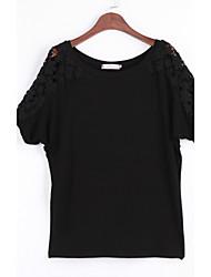 Damen Solide Einfach Übergröße / Ausgehen T-shirt,Rundhalsausschnitt Frühling / Herbst ½ Länge Ärmel Weiß / Schwarz Baumwolle