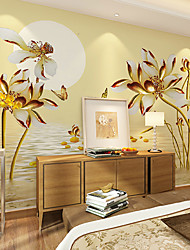 JAMMORY Art DecoWallpaper For Home Wall Covering Canvas Adhesive required Mural Golden Water Flowers XL XXL XXXL