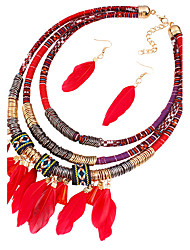 Jewelry 1 Necklace 1 Pair of Earrings Wedding Party 1set Women Black Red Blue Wedding Gifts