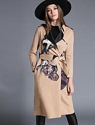 Manteau Femme,Mosaïque Décontracté / Quotidien simple Manches Longues Col de Chemise Multi-couleur Cuirs Particuliers Moyen Automne Hiver