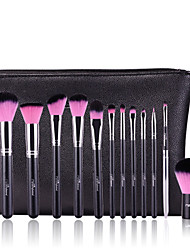 MSQ New 12pcs Makeup Brushes Set Alminium Ferrule Cosmetic Tool Professional Makeup Brush High Quality Synthetic Hair With PU Leather Case(PINK)