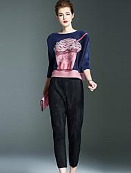 Feminino Skinny Chinos Calças-Cor Única Casual Simples Cintura Média Elasticidade Poliéster Com Elástico Outono