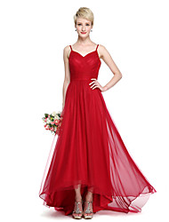 A-Line Spaghetti Straps Asymmetrical Chiffon Tulle Bridesmaid Dress with Criss Cross Ruching by LAN TING BRIDE®