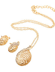 Jewelry Set Simulated Diamond Fashion Gold Wedding Party Daily Casual 1set 1 Necklace 1 Pair of Earrings Wedding Gifts