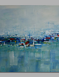 IARTS Abstract Landscape Oil Painting Blue Artwork Canvas  Poster Stretchered Ready to Hang