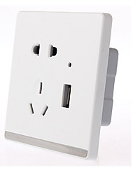 86-Type Jade-Induced White Wall Mounted Switch With Five-Hole USB Socket