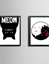 E-HOME® Framed Canvas Art Black and White Cat Theme Series Framed Canvas Print One Pcs