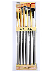 Wolf Mill 6 Scrub Wooden Paint Brush Set Oil Paint Gouache Pen Acrylic Brush Set
