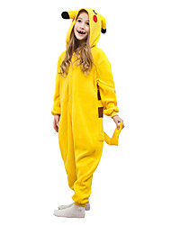Kigurumi Pajamas Pika Pika Leotard/Onesie Festival/Holiday Animal Sleepwear Halloween Yellow Solid Polar Fleece For KidHalloween