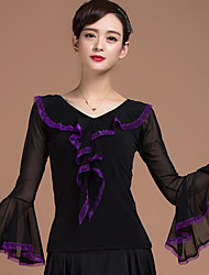 Ballroom Dance Tops Women's Training Splicing 1 Piece Long Sleeve Natural Top