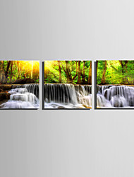 E-HOME Stretched Canvas Art Waterfall in The Forest Decoration Painting Set Of 3