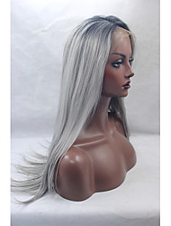 Synthetic Lace Front Wigs Black Roots Silver Grey Hair Ombre Silky Straight Synthetic Wigs